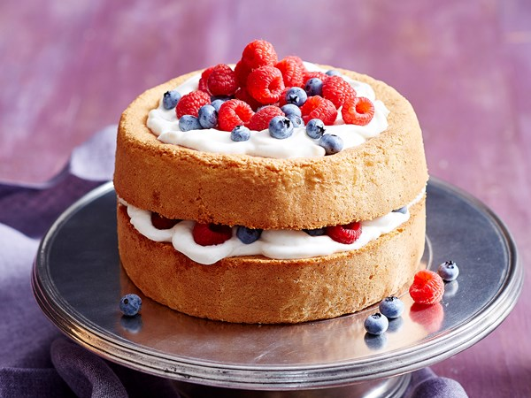 Gluten-free mixed berry and vanilla layer cake