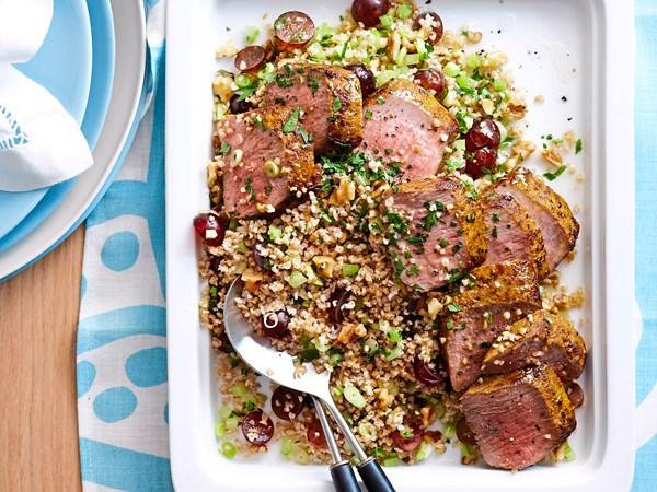 Warm lamb and burghul salad