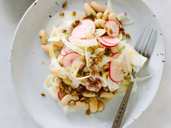 Fennel, white bean and pickled radish salad