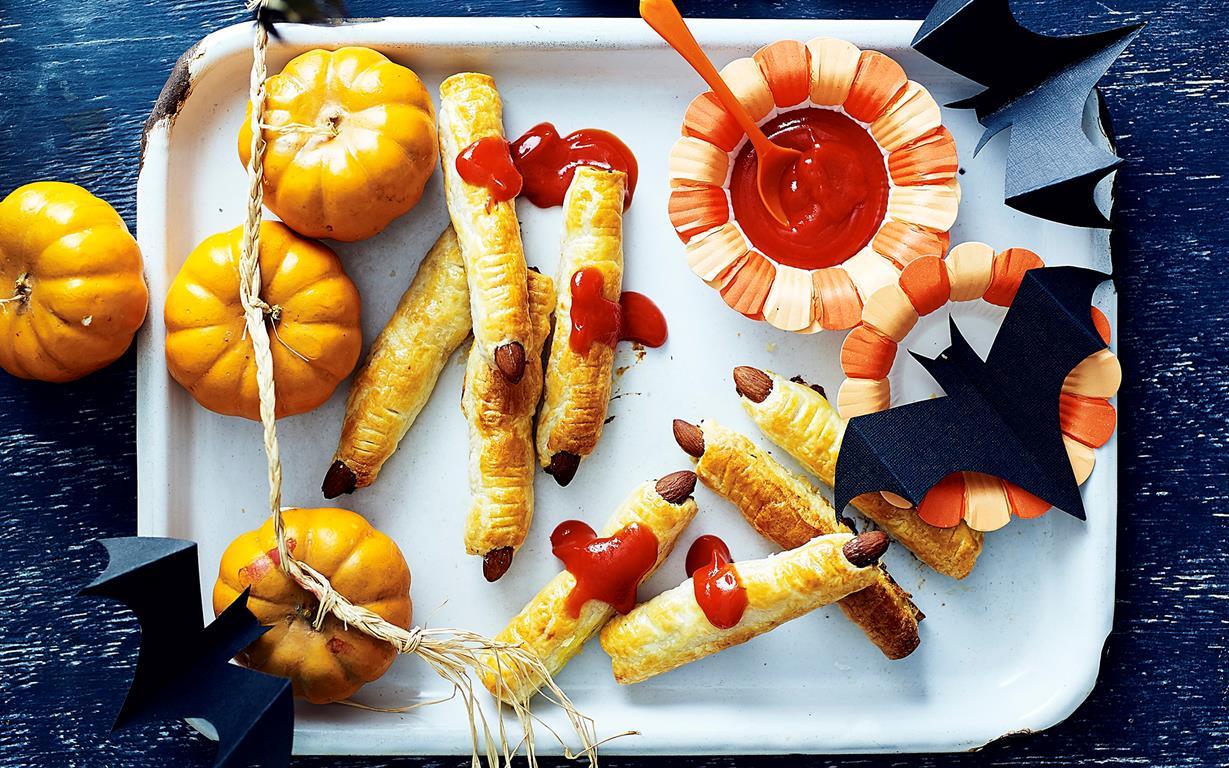Halloween Edible Zombie Finger Sausage Rolls Recipe recipe   Food ...