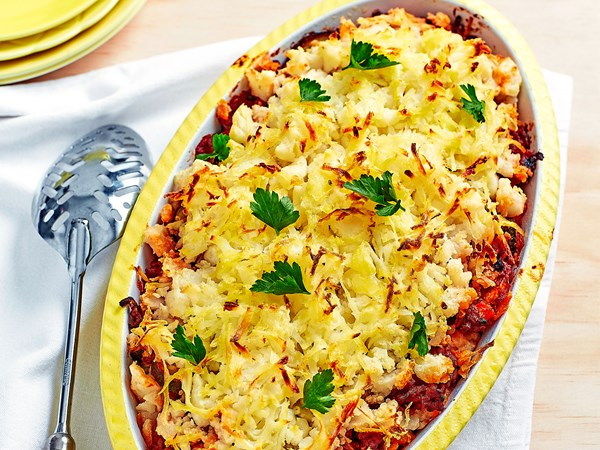 Lamb potato top pie with crispy hash