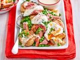 Crushed new potato, ham and egg salad