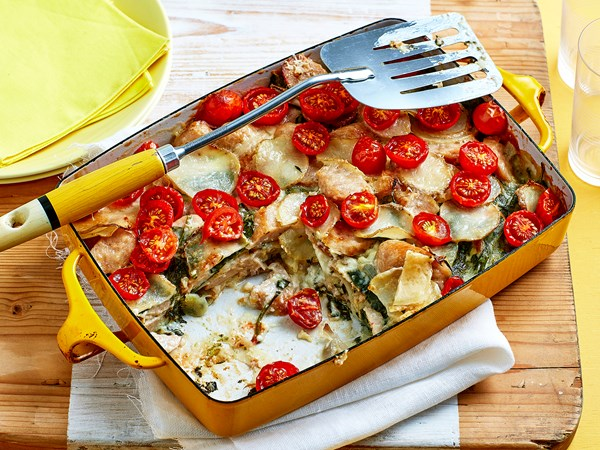 Chicken and spinach potato bake