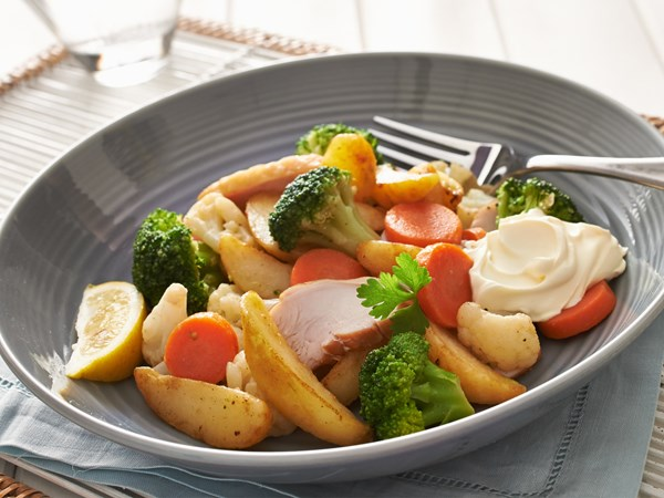 Smoked chicken with seasonal vegetables