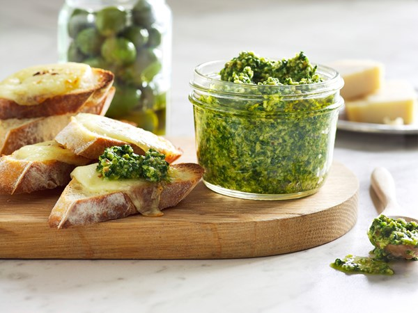 Sicilian olive and kale pesto with mozzarella toast