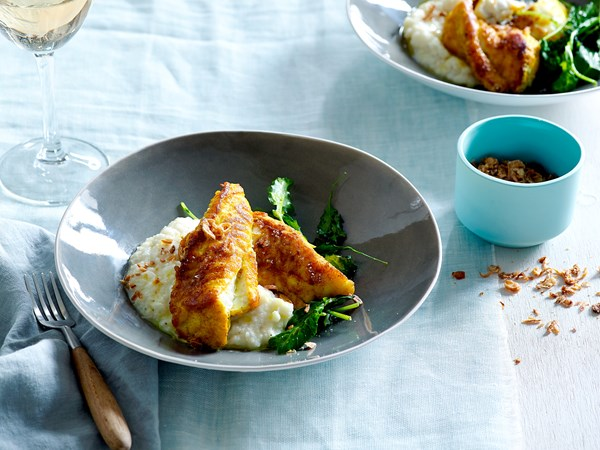 Roasted fish with turmeric oil and cauliflower purée