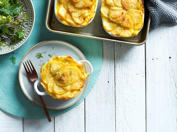 Creamy mornay fish hot pot with dill potato gratin