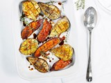 Roasted kumara with cinnamon and pomegranate drizzle