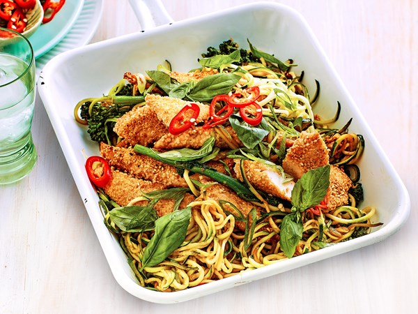 Sesame-crusted chicken breast with lemon zoodles