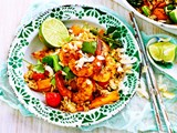 Coconut-fried rice with tom yum prawns
