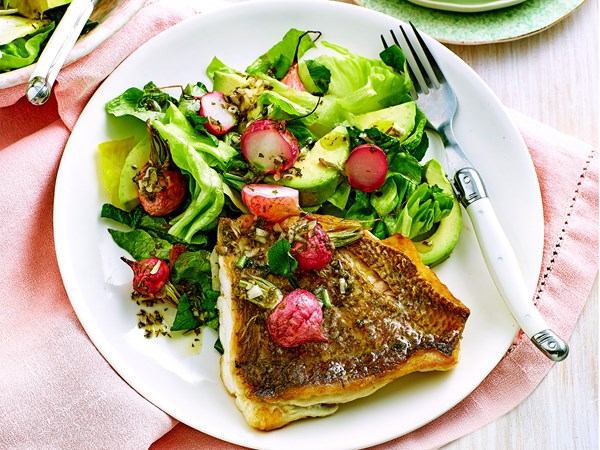 Grilled snapper with roasted radish salad