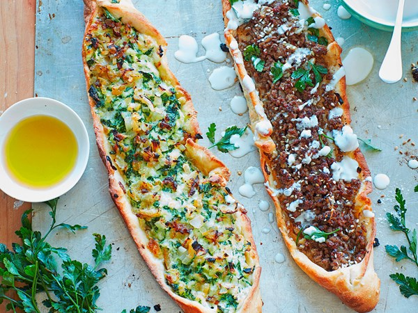 Turkish pide with spiced lamb and spinach filling