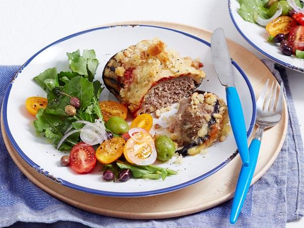 Mini eggplant parmigiana meatloaves