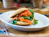 Cured salmon bagels with cucumber and coriander salad