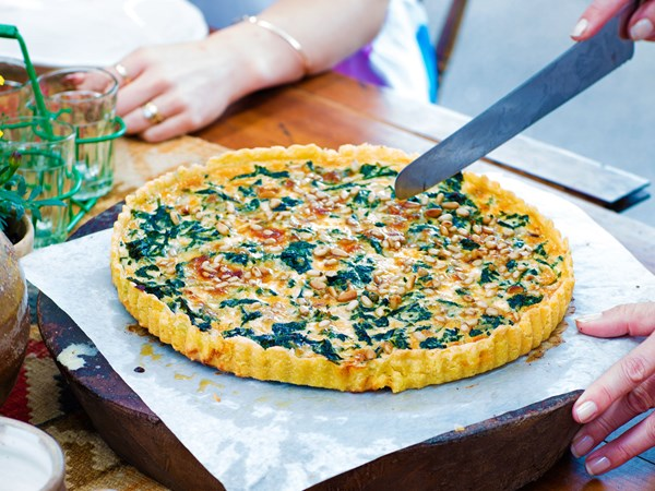 Spinach, kale and gorgonzola tart