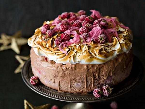 Hazelnut and chocolate ice cream cake