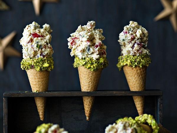 Honey nougat ice cream cones