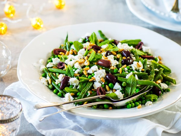 Green beans and peas with feta, olives and pine nuts