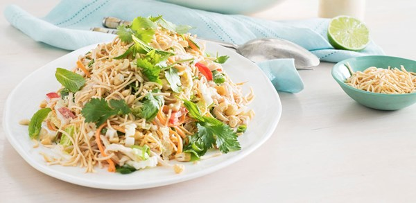 Crunchy chicken noodle salad with lime mayonnaise