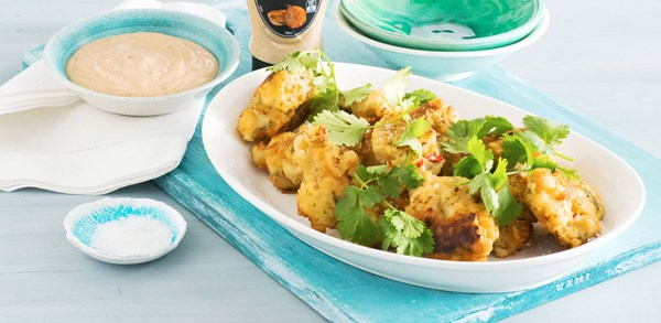 Cauliflower bites with caramelised onion mayonnaise