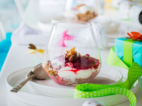 Maple baked granola with strawberry and cherry compote