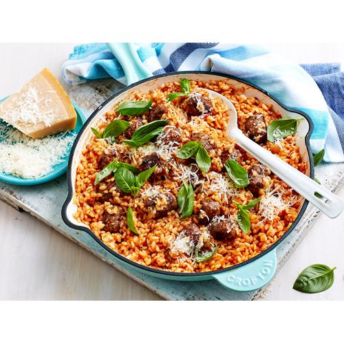 Tomato and Sausage Meatball Risotto Recipe recipe   Food To Love
