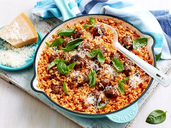 Tomato and sausage risotto