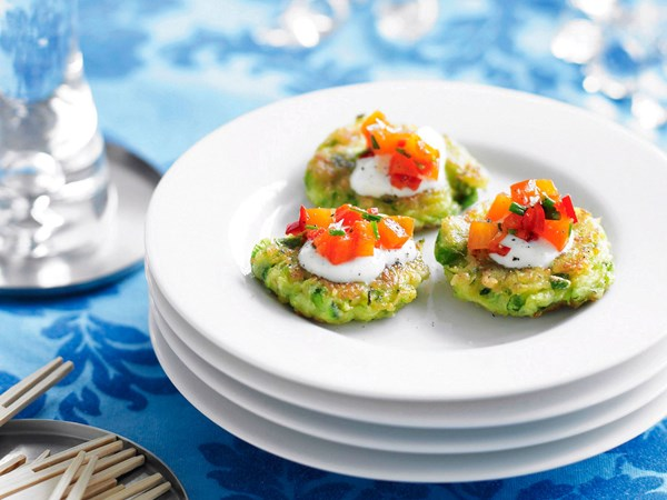 Zucchini fritters with yoghurt and spicy roasted capsicum salsa