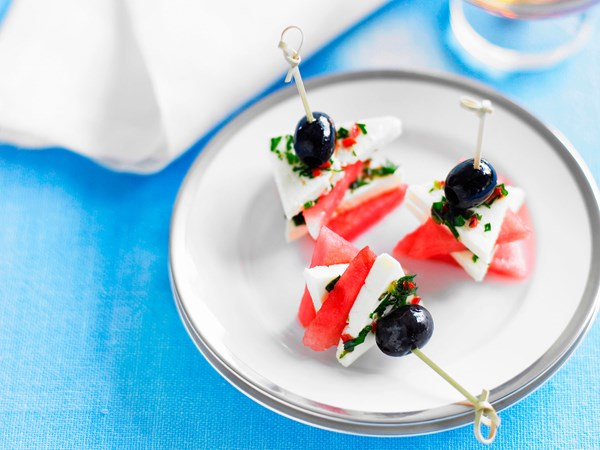 Feta and watermelon triangles with mint, chilli and olive