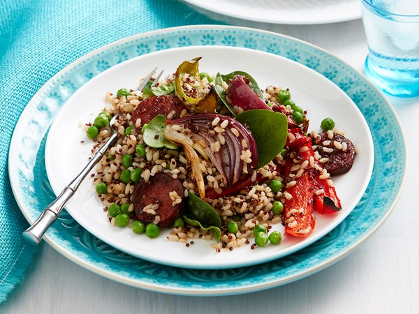 Chorizo and roasted vegetables with quinoa and rice