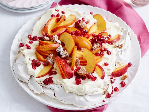 Sugar and spice peach pavlova