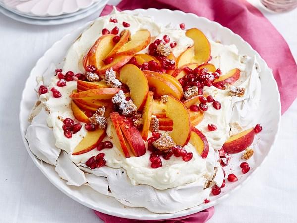 Sugar and spice peach pavlova