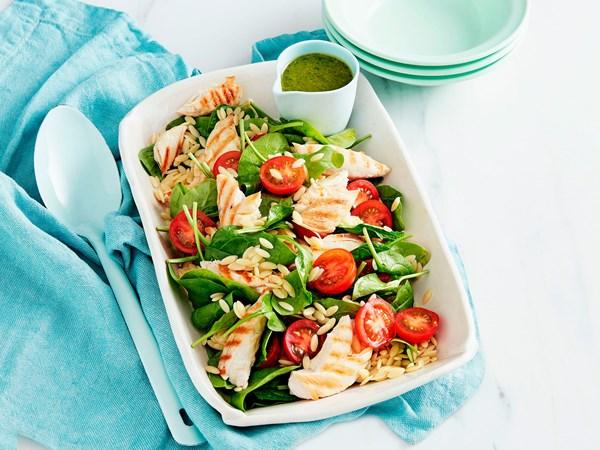 Chicken, risoni, spinach and tomato salad