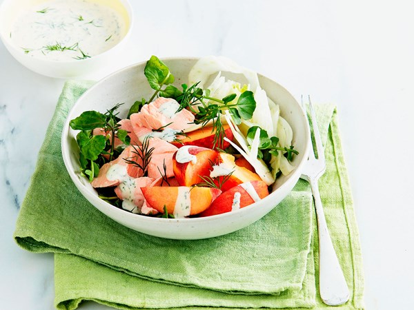 Poached salmon, fennel and peach salad