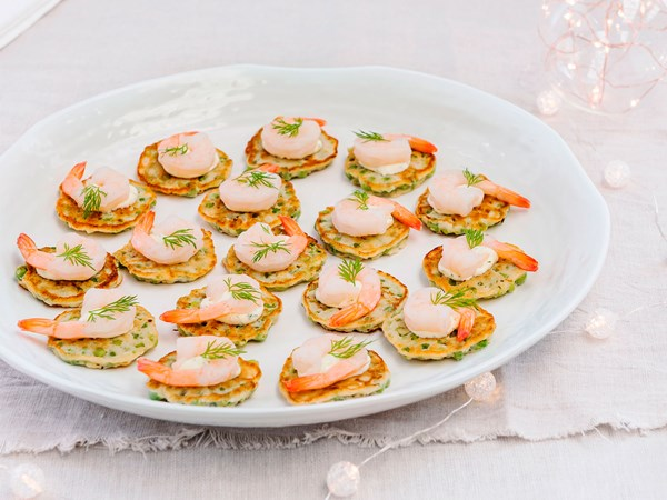Prawn-topped pea fritters