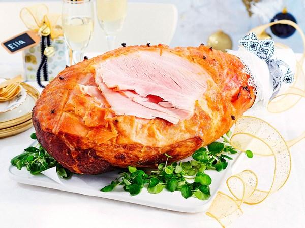 Ginger and mustard glazed ham
