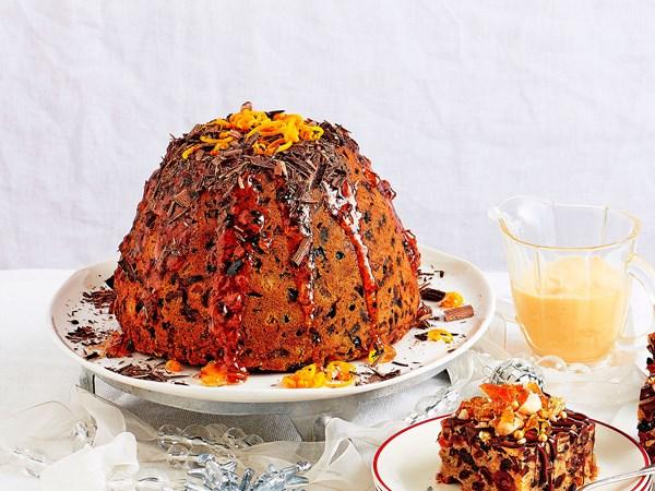Orange and dark chocolate Christmas pudding