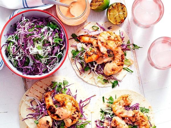 Firecracker prawn tortillas