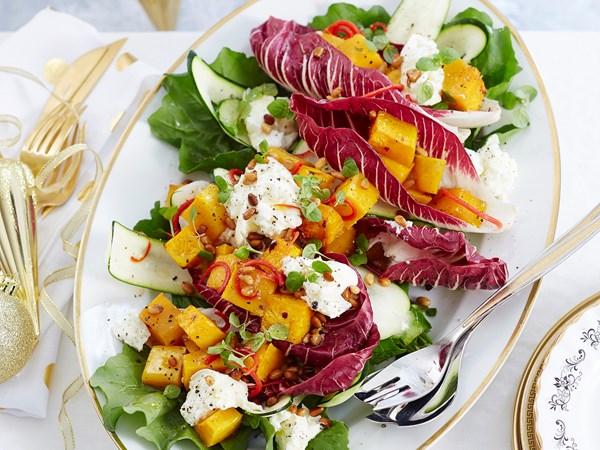Christmas celebration salad with maple dressing