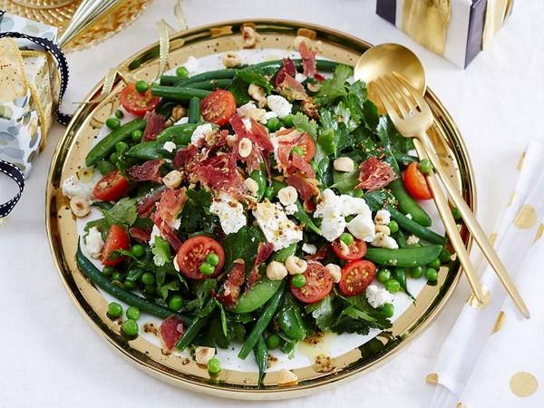 Mixed green beans and peas, hazelnuts and pancetta salad