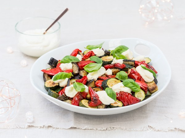 Roast Mediterranean vegetable salad with whipped feta