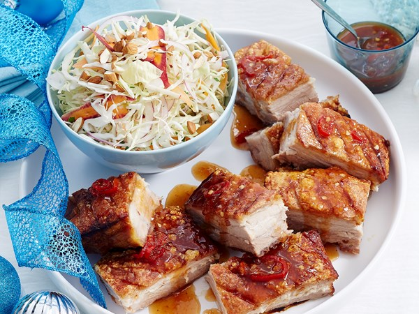 Sweet and sour pork belly with apple slaw