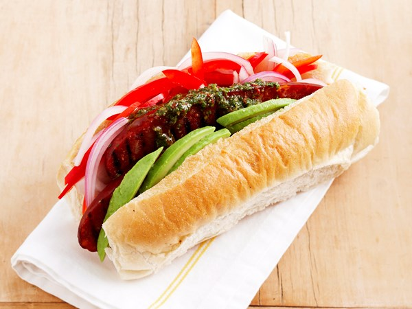 Chorizo hot dogs with chimichurri sauce