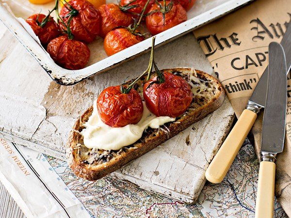Sourdough mousetraps with whipped feta cream and roasted tomatoes