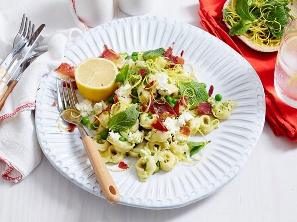 Prosciutto, pea and ricotta tortellini