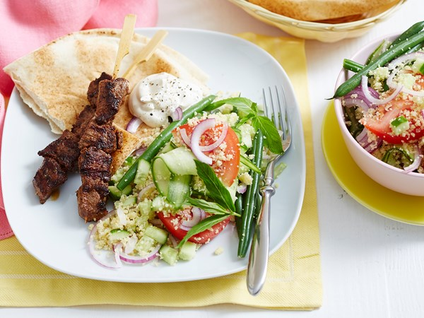Lamb kebabs with tomato and herb couscous