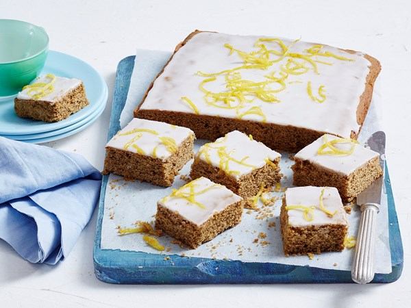 Gingerbread slice with lemon glaze