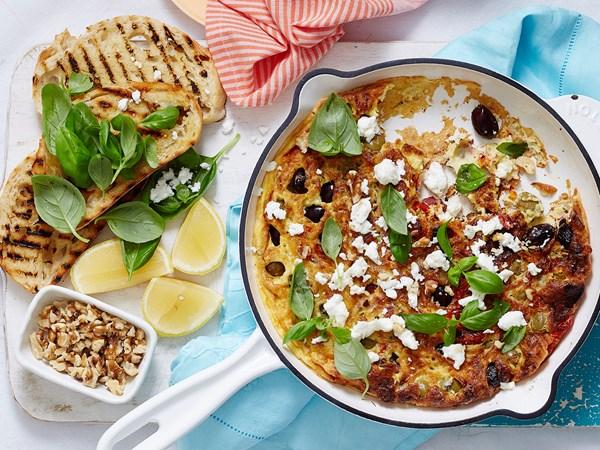 Antipasto vegetables and feta frittata
