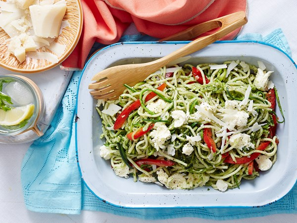 Pesto chicken, zucchini and spaghetti salad