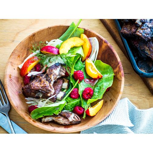 Maple pork ribs with raspberry and fennel salad recipe | Food To Love
